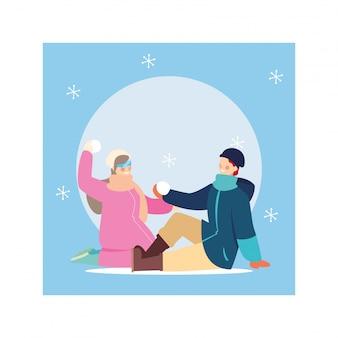 Romantische scène van paar met winterkleren