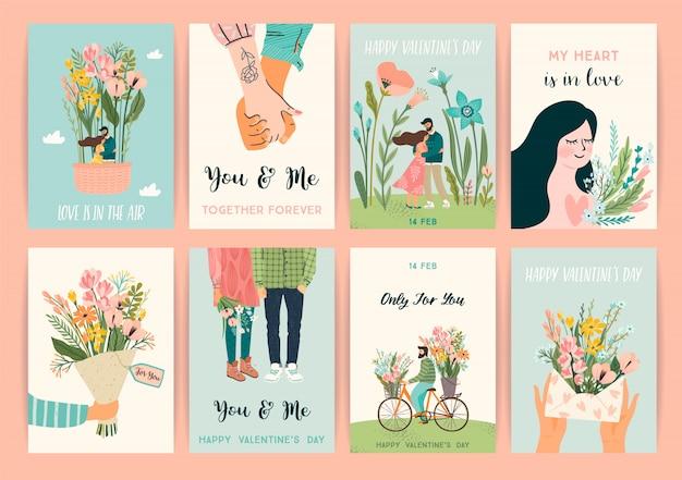 Romantische set van illustraties met man en vrouw.