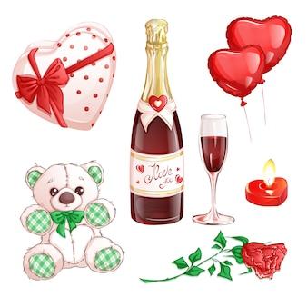 Romantische set voor valentijnsdag van sint
