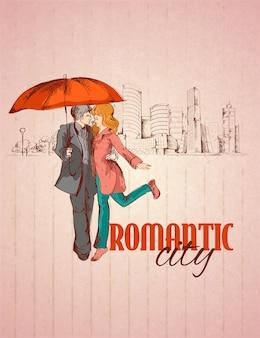 Romantische stad illustratie
