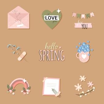 Romantische stikers met envelop en bloemen