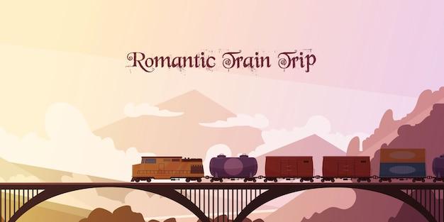 Romantische treinreis achtergrond