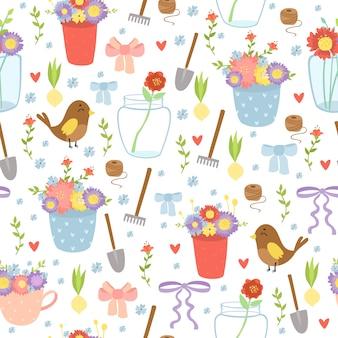 Romantische tuin levert naadloos patroon