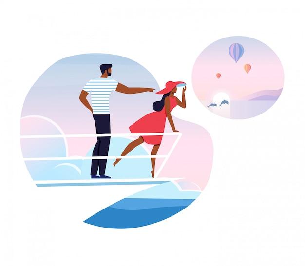 Romantische vakantie, cruise illustratie