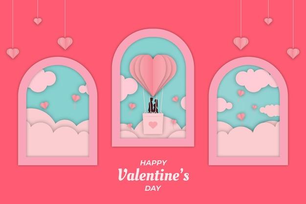 Romantische valentijn paar roze venster achtergrond