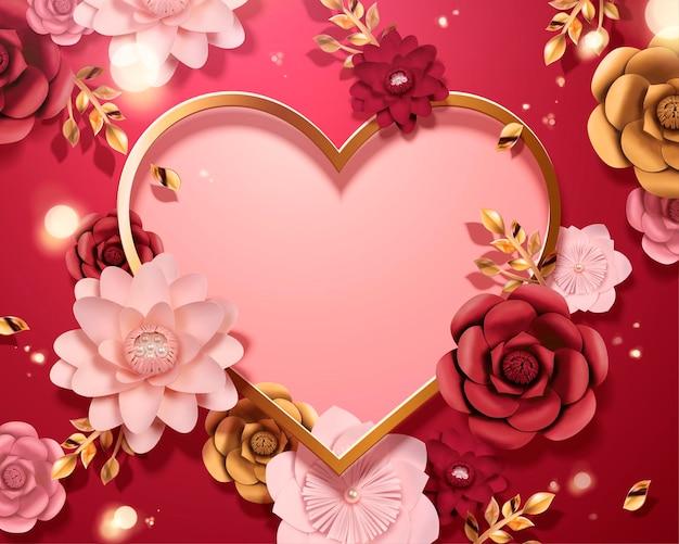 Romantische valentijnsdag kaartsjabloon met papieren bloemen en hart shpaed kopie ruimte, 3d-stijl