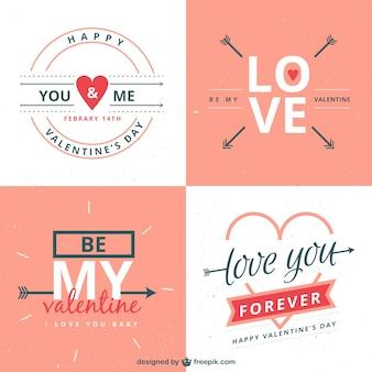 Romantische valentijnsdag labels inpakken