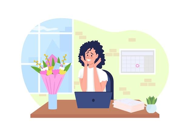Romantische verrassing 2d. gelukkige vrouw aan bureau plat