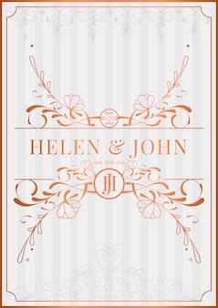 Romantische vintage art nouveau bruiloft uitnodiging kaart mockup vector