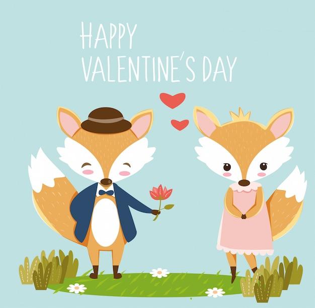 Romantische vos voor de kaart van de valentijnskaart