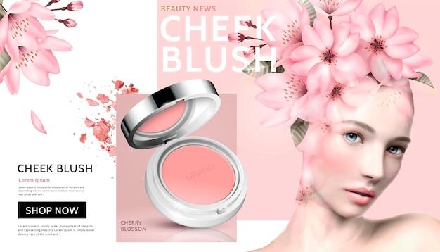 Romantische wangblush met mooie vrouw die bloemenhoofddecoratie in 3d illustratie draagt