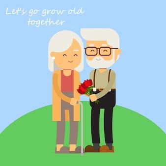 Romantische ware liefde van oud paar geeft bloem