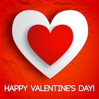 Romantische wenskaart met inscriptie en twee kartonnen harten op rood gekreukt papier geïsoleerde vectorillustratie
