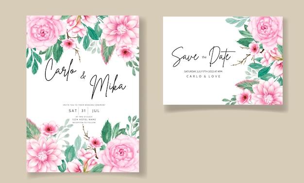 Romantische zoete aquarel roze bloemen bruiloft uitnodigingskaart