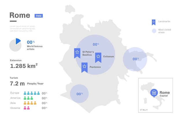 Rome kaart infographics sjabloon