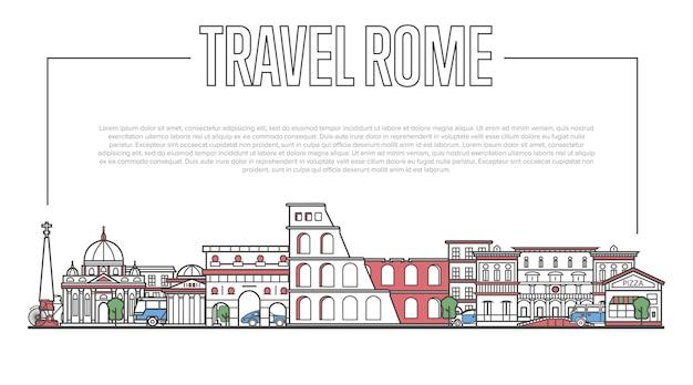 Rome landmark panorama in lineaire stijl