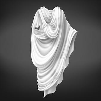 Romeinse toga geïsoleerd op zwarte achtergrond.