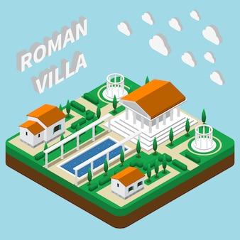 Romeinse villa isometrisch