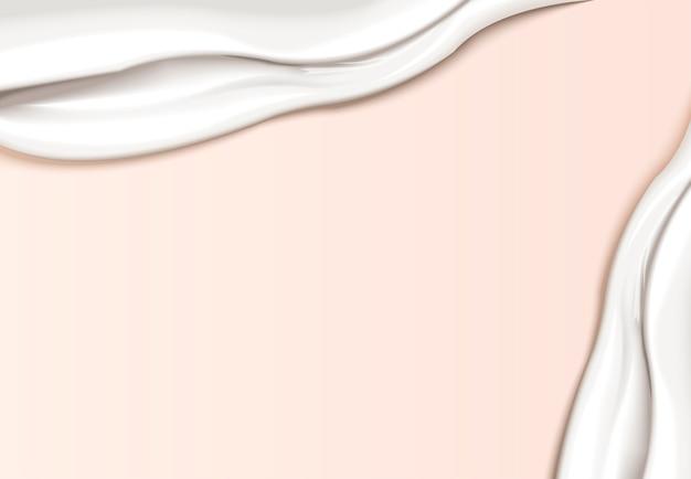 Romig textuurmalplaatje, vlotte roomtextuurvlek op lichtroze achtergrond in afbeelding