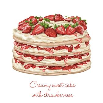 Romige chocoladecake met getrokken marshmallows hand vector