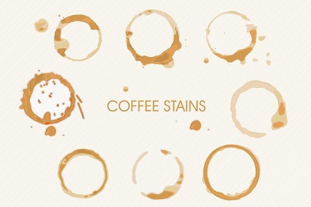 Rommelige grunge koffie vloeibare vlekken met ronde vorm set. realistische spetterde plek verschillende variatie, vuile koffiekopje cirkel afdruk track vectorillustratie geïsoleerd op een witte achtergrond