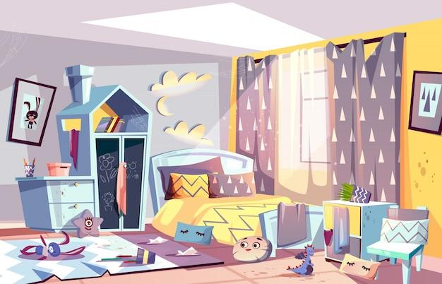 Rommelige slaapkamer van lui kind met verspreid speelgoed