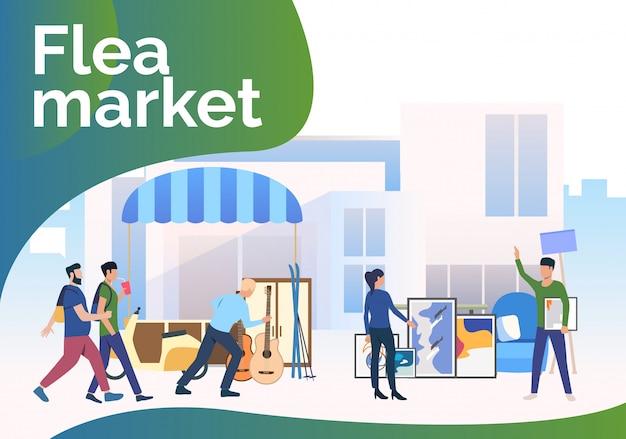 Rommelmarkt belettering, mensen lopen en winkelen buitenshuis