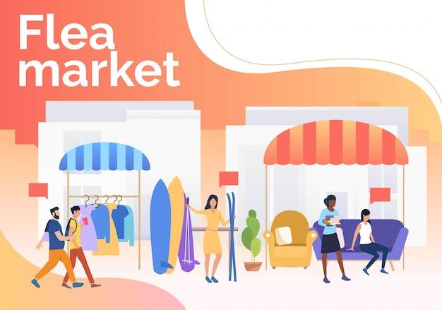 Rommelmarkt belettering, mensen verkopen kleding en ski's buitenshuis