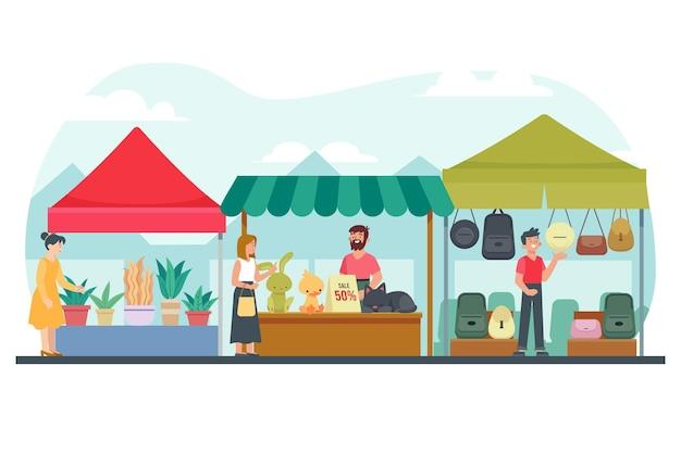 Rommelmarkt concept illustratie