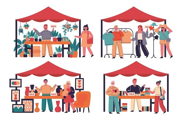 Rommelmarkt concept vlakke afbeelding
