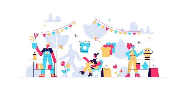 Rommelmarkt illustratie. kleine swap ontmoet concept van evenementpersonen. oude productverzameling bazaar in huishoudelijk evenement. stedelijke straatbeurs met handelswaar van verkopers en inbaar gebruikt personeel.