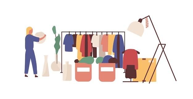 Rommelmarkt, kleding bazaar platte vectorillustratie. vrouwelijk klant gezichtsloos karakter. rag eerlijke koopwaar selectie. goedkope goederen, koopje, jurk kruising. ruil ontmoeten, markt voor modeontwerpers.