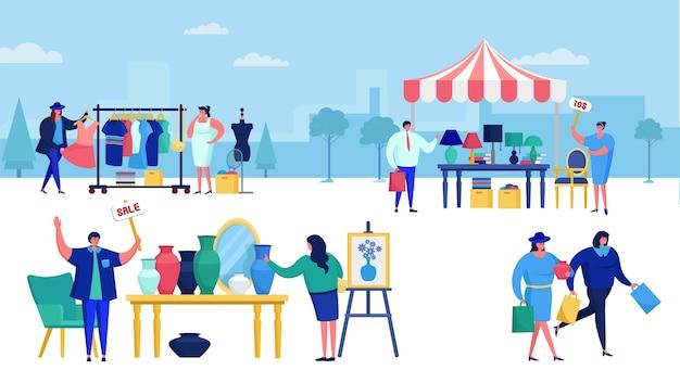 Rommelmarkt vol met mensen die winkelen