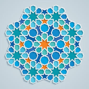 Rond arabisch geometrisch patroon kleurrijk mozaïek