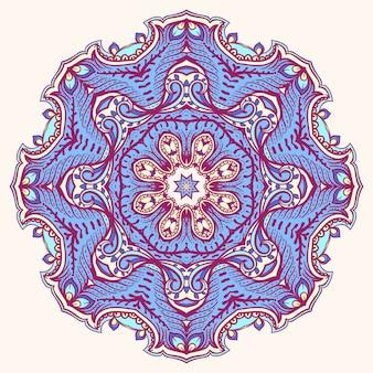 Rond blad paars blauw abstract patroon op een beige achtergrond