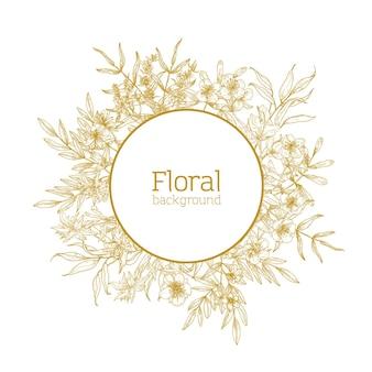 Rond bloemen decoratief frame bestond uit wilde bloeiende bloemen