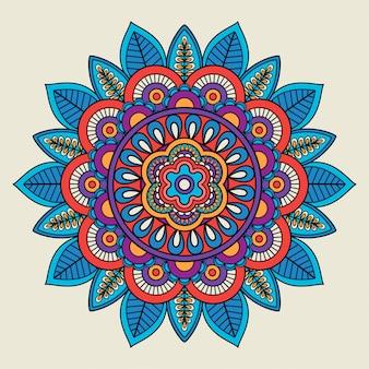 Rond bloemen felgekleurd motief