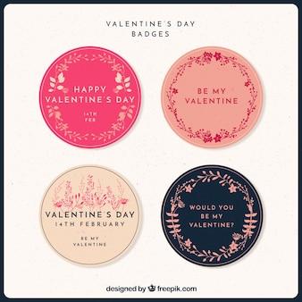 Rond bloemen stickers te pakken voor valentijnsdag