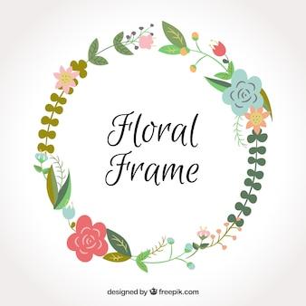 Rond bloemenframe met platte bloemen