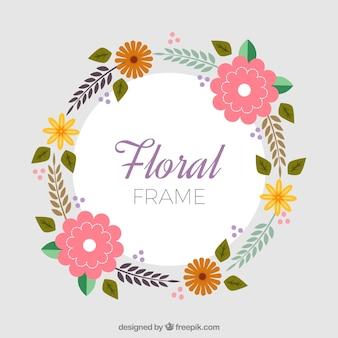 Rond bloemenframe met schattige kleuren