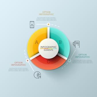 Rond cirkeldiagram verdeeld in 3 veelkleurige sectoren, dunne lijnpictogrammen en tekstvakken. statistische gegevens visualisatie concept.