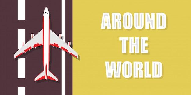 Rond de wereld reizen illustratie achtergrond. vliegtuig wereldwijde tour vakantie vakantie reis banner. cruise avontuur zomerreis recreatie droom. zakelijk vliegtuig