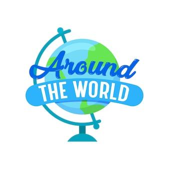 Rond de wereld reizen pictogram met earth globe geïsoleerd op een witte achtergrond. label of embleem voor reisbureauservice of mobiele telefoontoepassing, reis, reisbanner. cartoon vectorillustratie