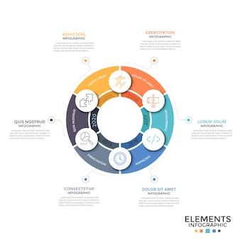 Rond diagram verdeeld in 6 gelijke kleurrijke delen met dunne lijnpictogrammen en jaaraanduiding. concept van jaarlijks cyclisch proces. minimale infographic ontwerpsjabloon. vectorillustratie voor brochure.