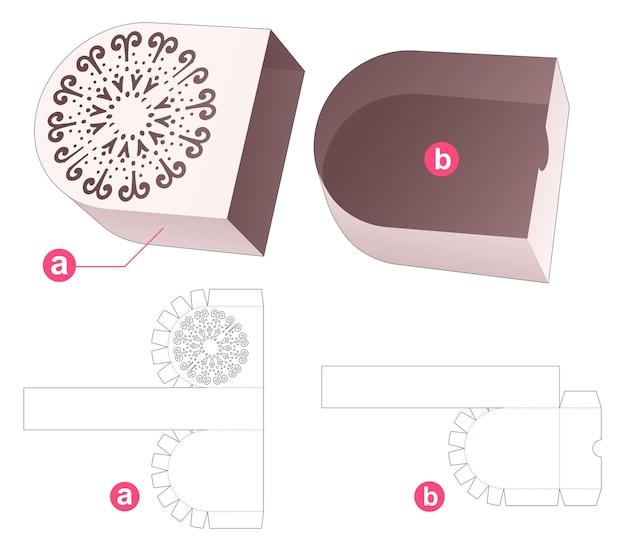 Rond dienblad met ronde deksel met gestencilde cirkel mandala gestanst sjabloon