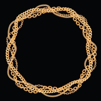 Rond frame gemaakt met gedraaide gouden kettingen. op zwart. vector illustratie.
