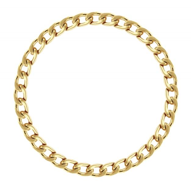 Rond frame gemaakt met gouden ketting. premie