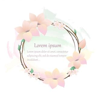 Rond frame in de vorm van een krans van roze bloemen.