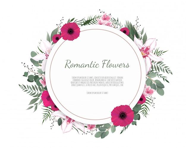 Rond frame kaartontwerp voor groet of uitnodiging met realistische gele en rode bloemen