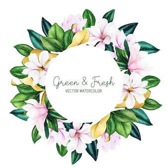 Rond frame met aquarel magnolia bloemen en bladeren